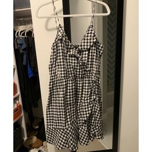 Black and White Gingham Mock Wrap Dress